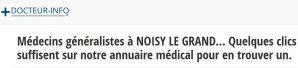 Les coordonnées de plusieurs centaines de médecins français sont à retrouver sur docteur-info.fr